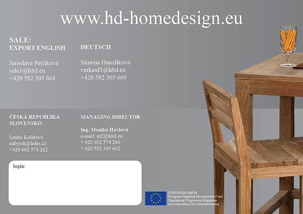 kontakty H&D HOME DESIGN a web