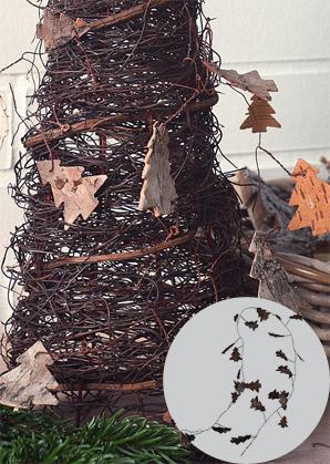 girlanda dekorační - stromečky - kůra/drátek | A00810