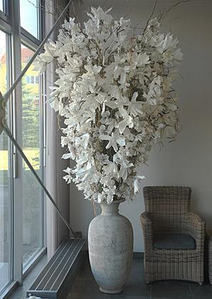 aranžmá - umělé květy, váza, přírodní materiál   A01135_B