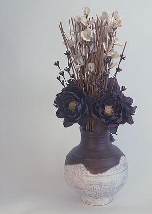 aromadekoaranž - váza + celulózové květy + aromadekorace   A01155_A