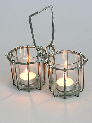 svícen - patinovaný kov / sklo | A01420