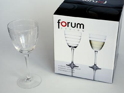sada -  4  ks sklenic 0,25l na bílé víno - čiré sklo,broušené proužky | A02800