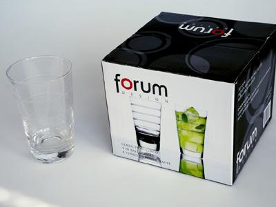 sada -  4  ks sklenic 0,3 L  - čiré sklo,broušené proužky | A02810