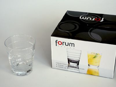 sada -  4  ks sklenic 0,25 L  - čiré sklo,broušené proužky | A02820