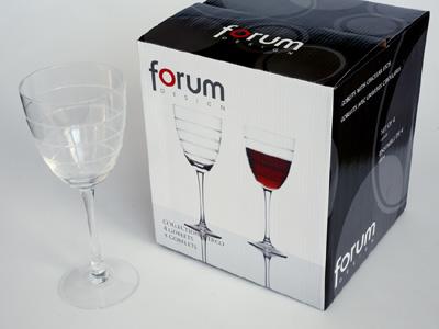 sada -  4  ks sklenic 0,25l na červené víno - čiré sklo,broušené proužky | A02830