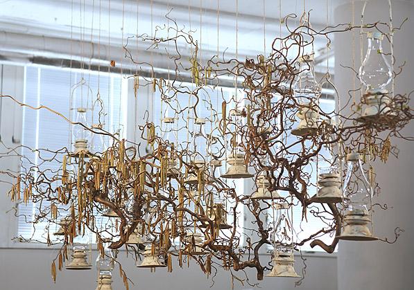 aranžmá - lucerny, přírodní materiál   A03005_A