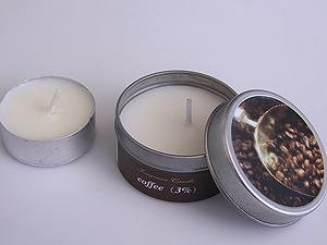 svíčka - káva - plechový obal | A03111_ZHN