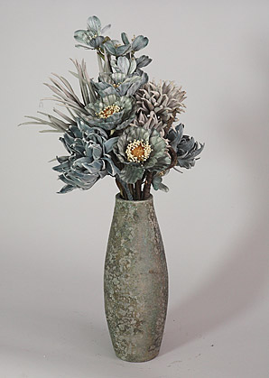 aranžmá - celulozové a umělé květy, váza   A03835_C