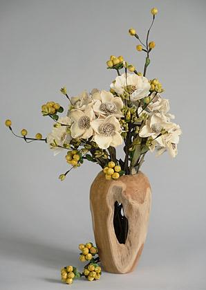aranžmá - celulozové květy, váza teak   A06105_B