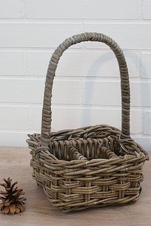 košík dělený - ratan - kubu | A07140