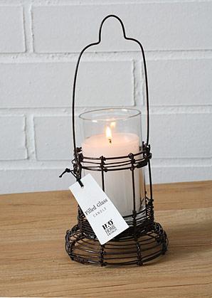 svícen drátěný + svíčka ve skle | A07750_SE1