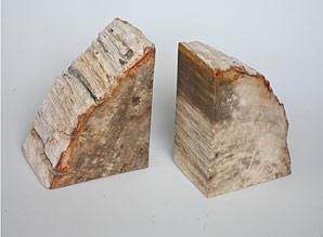zarážka na knihy - zkamenělé dřevo - sada 2 ks | A08050