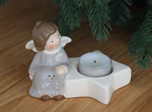 dekorace - svícen na čajovou svíčku andílek - keramika | A09050_VSE