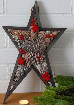 dekorace - hvězda závěsná z přírodních materiálů | A09430_VHN