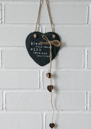 dekorace - srdíčko břidlicové závěsné s nápisem   A09570_VAN