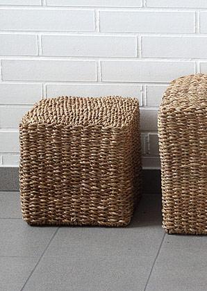 taburet - čtverec - mořská tráva | A13051_BE3