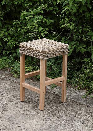 stolička barová - ratan kubu - masiv mango | A13110_BE2