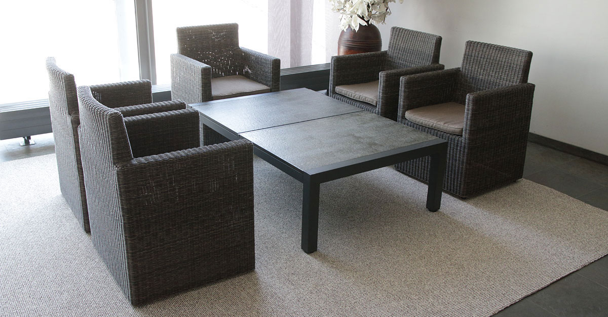 Sestava s kamenným stolem  -  4 KŘESLA + STŮL   A60041