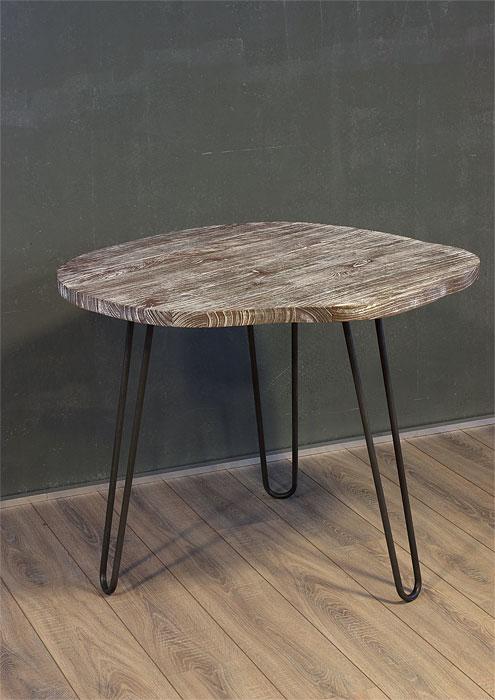 Tisch Massivholzplatte Metallbeine H D Home Design